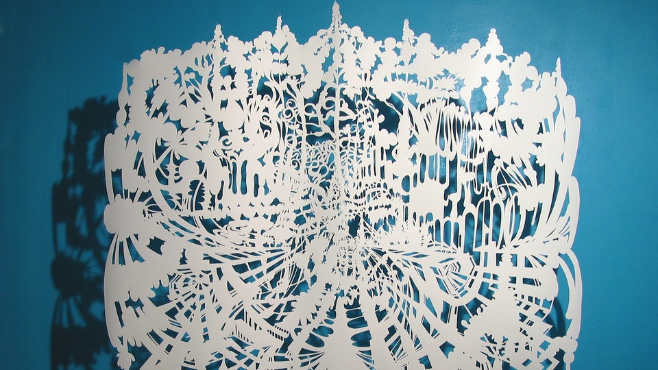 White Paper Color Field Series - Jungle Squash Pull | cut paper, painted wall, wire. lighting | 2003  © Chris Natrop