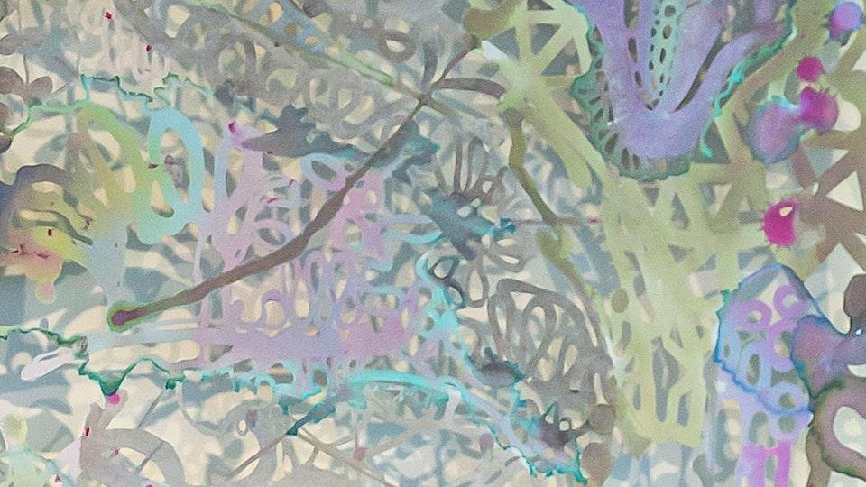 Maybe Matter Matters Most - MAYBE MATTER MATTERS MOST   60 x 63   watercolor, metallic powder, glitter on paper   2015