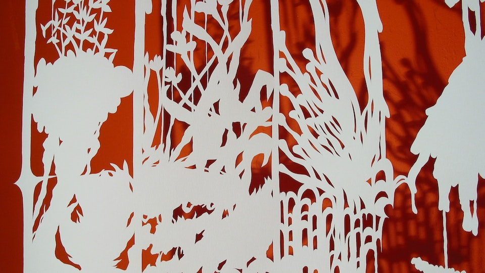 White Paper Color Field Series - Landscape Blossom Pop (detail)  | cut paper, painted wall, wire. lighting | 2003  © Chris Natrop