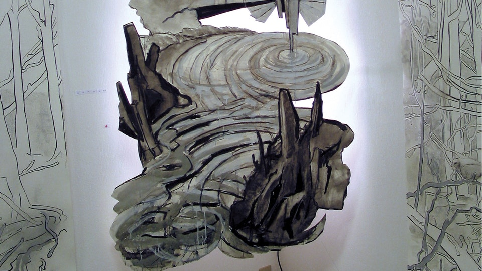 Early Paper Cuts - disquiet | gouache and charcoal on cut paper, cut paper wood, backlighting, wire | 2002 | Arte Contemporanea Genova, Genoa, Italy