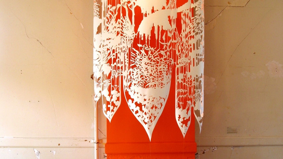 Affiliate Artist | Headlands Center for the Arts - LANDSCAPE BLOSSOM POP | 72 x 84 inches | one piece of cut paper suspended by wire in front of orange painted wall with cast shadows | 2003 | Close Calls: 2004, Headlands Center for Arts, Marin Headlands, CA © Chris Natrop