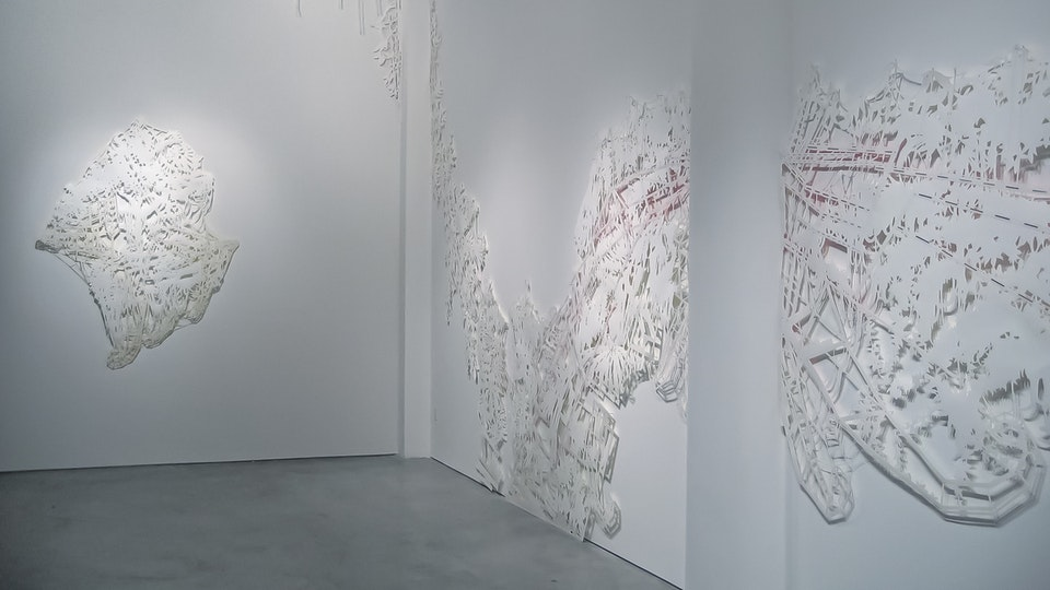 Into the Silver See-Through - INTO THE SILVER SEE-THROUGH 30 x 19 feet | tape on cut paper with stainless steel nails | 2006