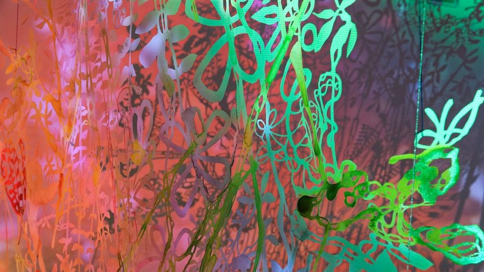 Half Light Candy Bowl Mashup - Half Light Candy Bowl Mashup | size variable | watercolor, glitter, aluminum powder on paper, string | 2018 © Chris Natrop