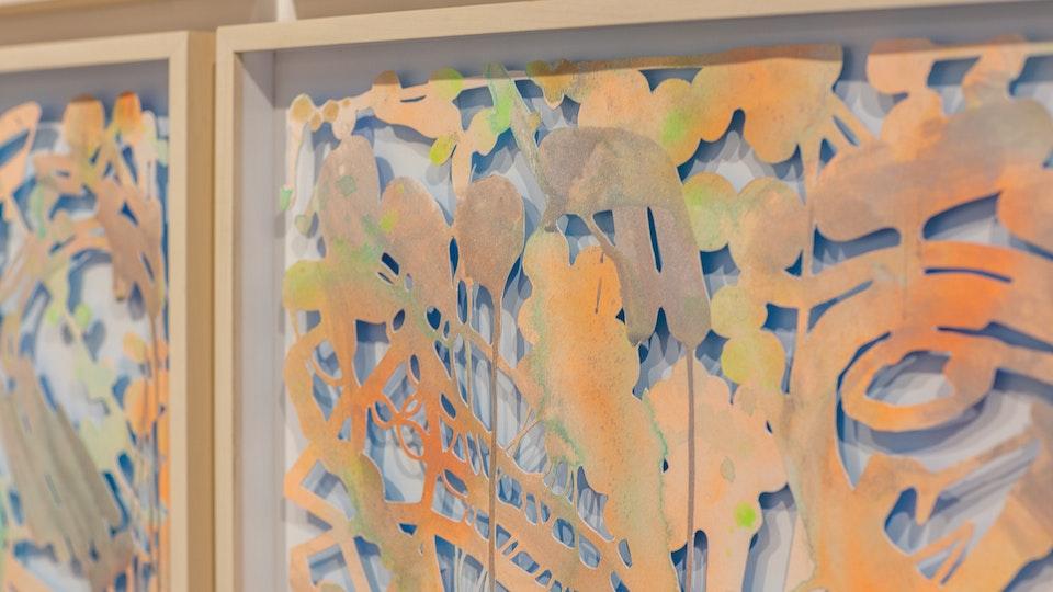 Ultra Vivid Aftermath - ULTRA VIVID AFTERMATH | 80x80 (9 panel grid, 26x26 ea) | cut paper with acrylic, glitter, aluminum powder, watercolor, wood frames | 2016