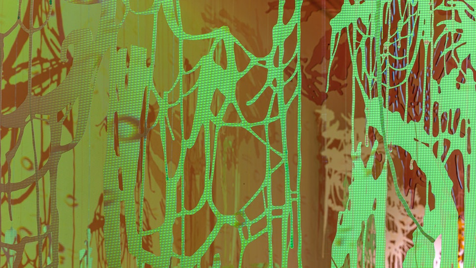 And further the dewdrop falls - AND FURTHER THE DEWDROP FALLS | cut paper with watercolor, glitter and magic string; cut acrylic sheet; HD video projection | Chris Natrop Solo Exhibition | MOCA Jacksonville | 2008