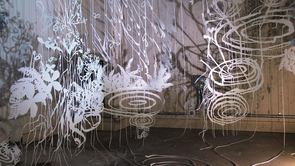 Fern Space Burst - FERN SPACE BURST | size variable | hand cut paper, colored ink, watercolor, iridescent medium, thread, lighting | 2004 © Chris Natrop