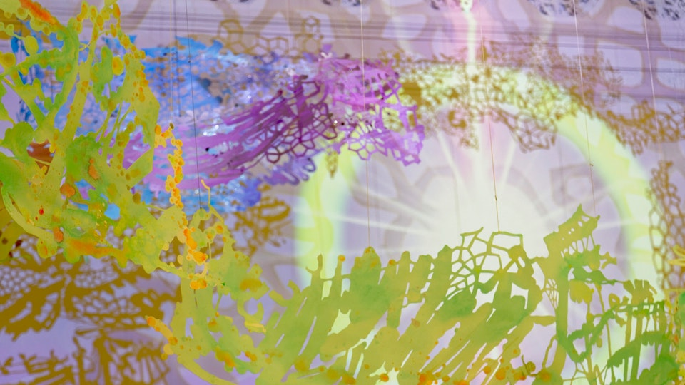 Silver Sun Super Nova - SILVER SUN SUPER NOVA size variable | cut paper with acrylic, glitter, aluminum powder, watercolor, video projection, audio | 2016 | Cooper Design Space © Chris Natrop
