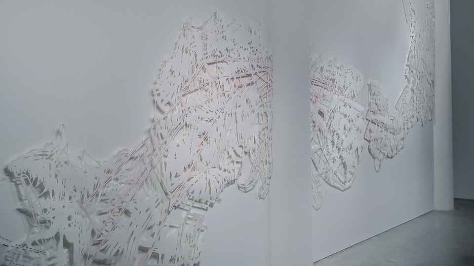 Into the Silver See-Through - INTO THE SILVER SEE-THROUGH 30 x 19 feet   tape on cut paper with stainless steel nails   2006