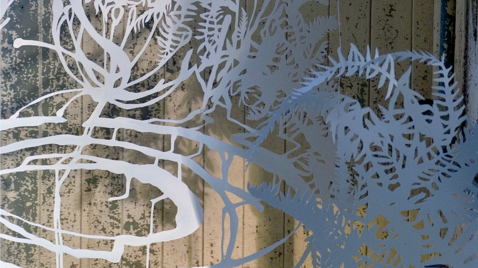Affiliate Artist | Headlands Center for the Arts - Fern Space Burst | size variable | hand cut paper, colored ink, watercolor, iridescent medium, thread, lighting | 2004 | Site Specific Installation at Headlands Center for the Arts © Chris Natrop