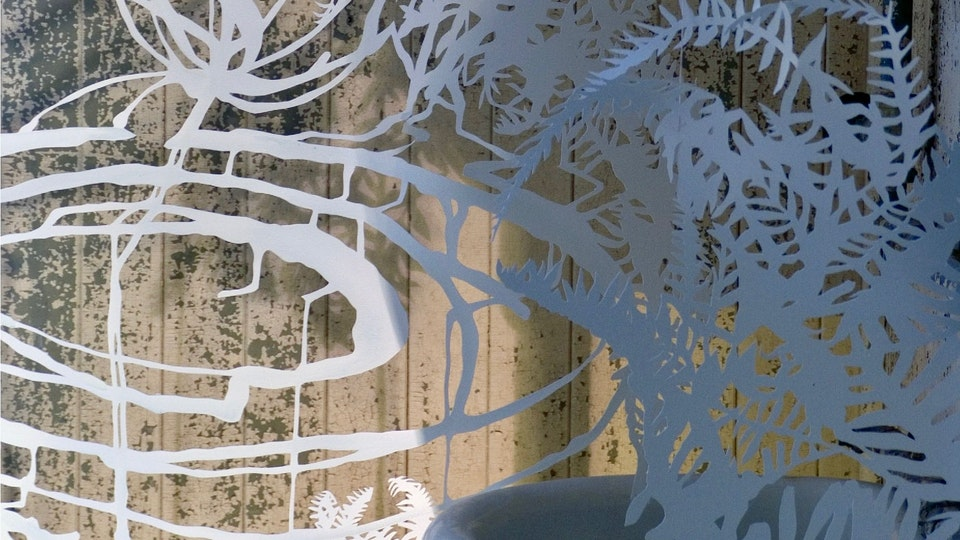 Affiliate Artist   Headlands Center for the Arts - Fern Space Burst   size variable   hand cut paper, colored ink, watercolor, iridescent medium, thread, lighting   2004   Site Specific Installation at Headlands Center for the Arts © Chris Natrop