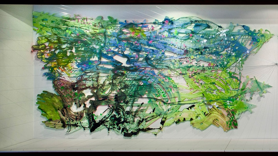 Jungle Diamond Burst - Jungle Diamond Burst | 60 x 230 x 24 inches | acrylic and glitter on paper, string, nails | 2018 | PHOTO CREDIT: Eric Stoner © Chris Natrop