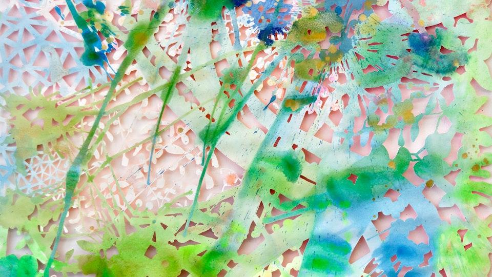 Matrix Nouveau - Matrix Nouveau 2 (detail) | 44 x 48 | acrylic and glitter on cut paper | 2016 © Chris Natrop
