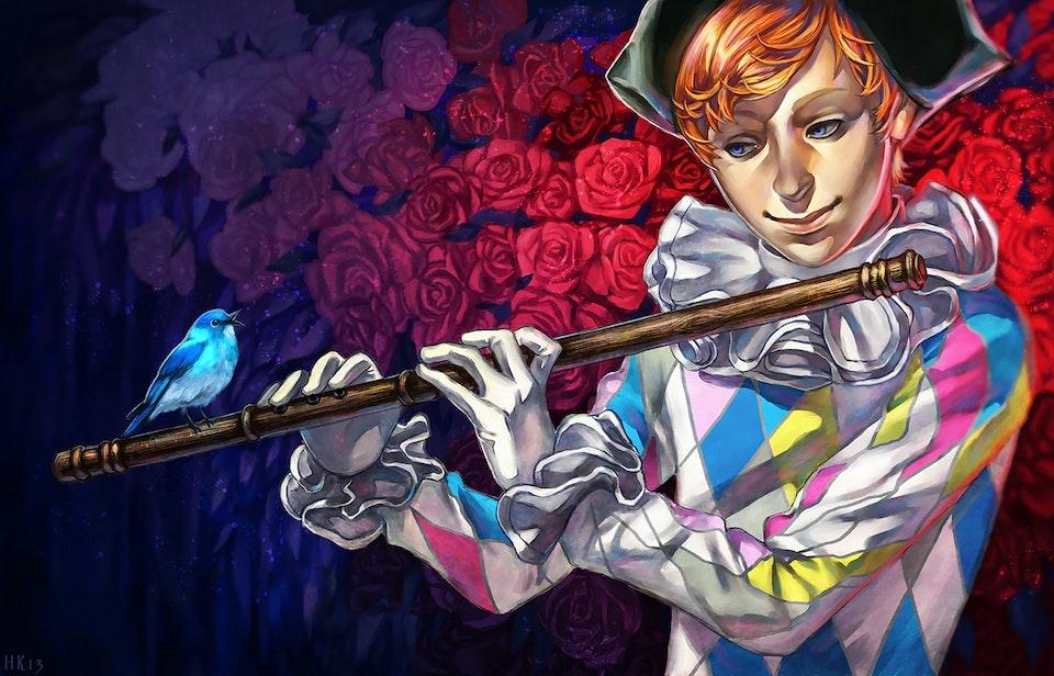 Game Art - A flutist harlequin character portrait