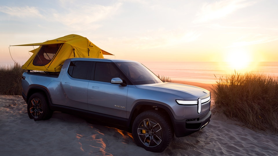 Work for Rivian - CGI Composite - In VRED I rendered out a new front end and wheels to composite over the original photograph