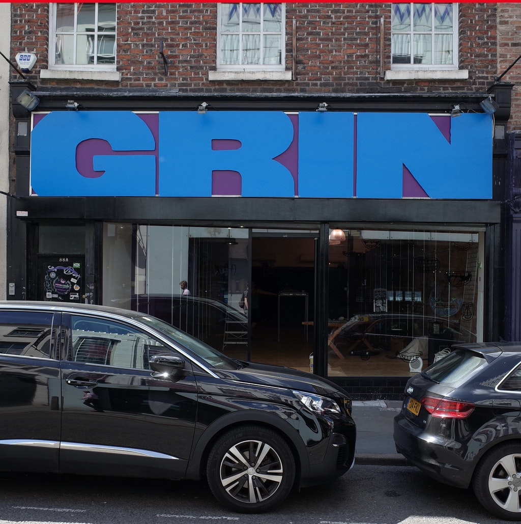 Grin, Bold Street, Liverpool — signage and window drawings