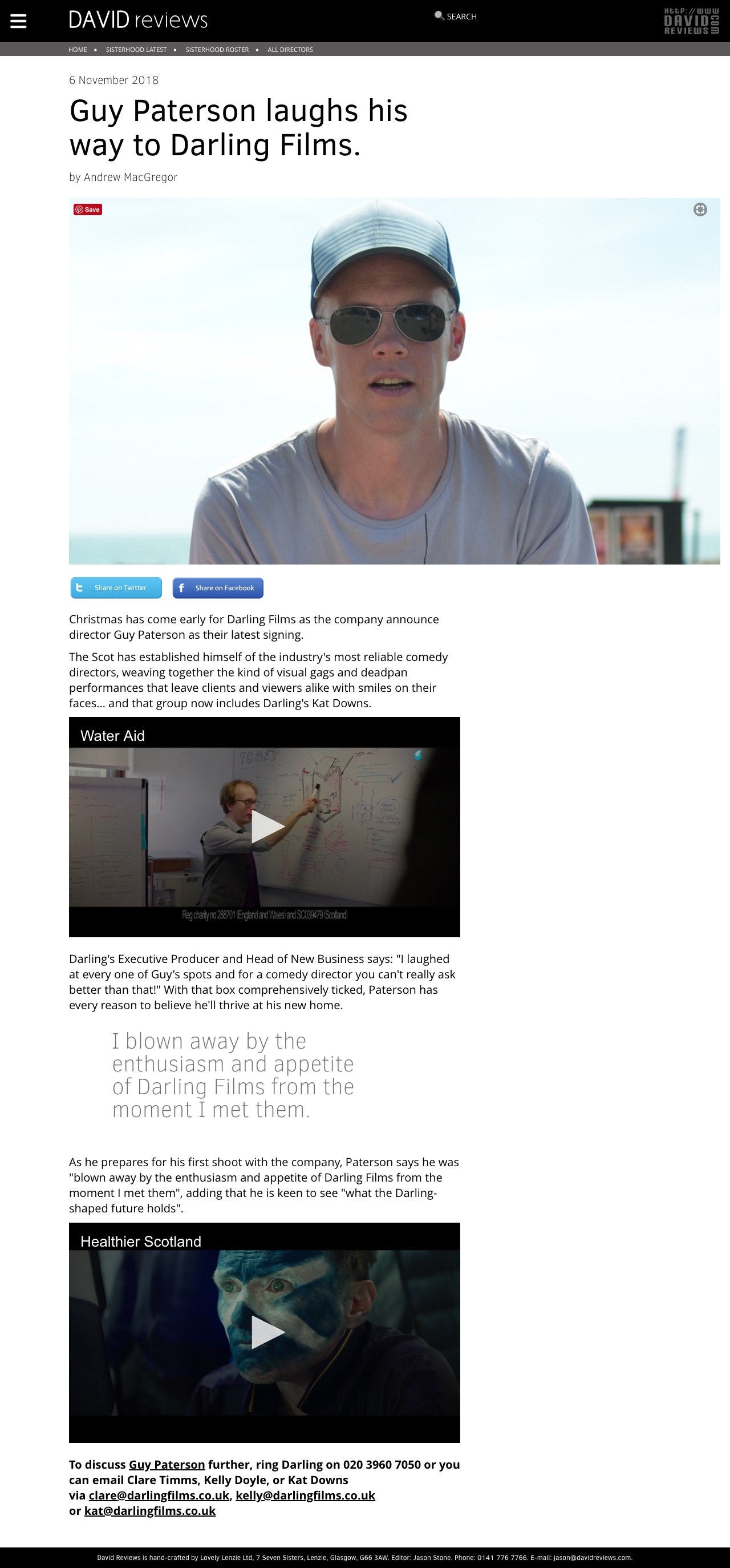 Guy Paterson laughs his way to Darling Films - Darling