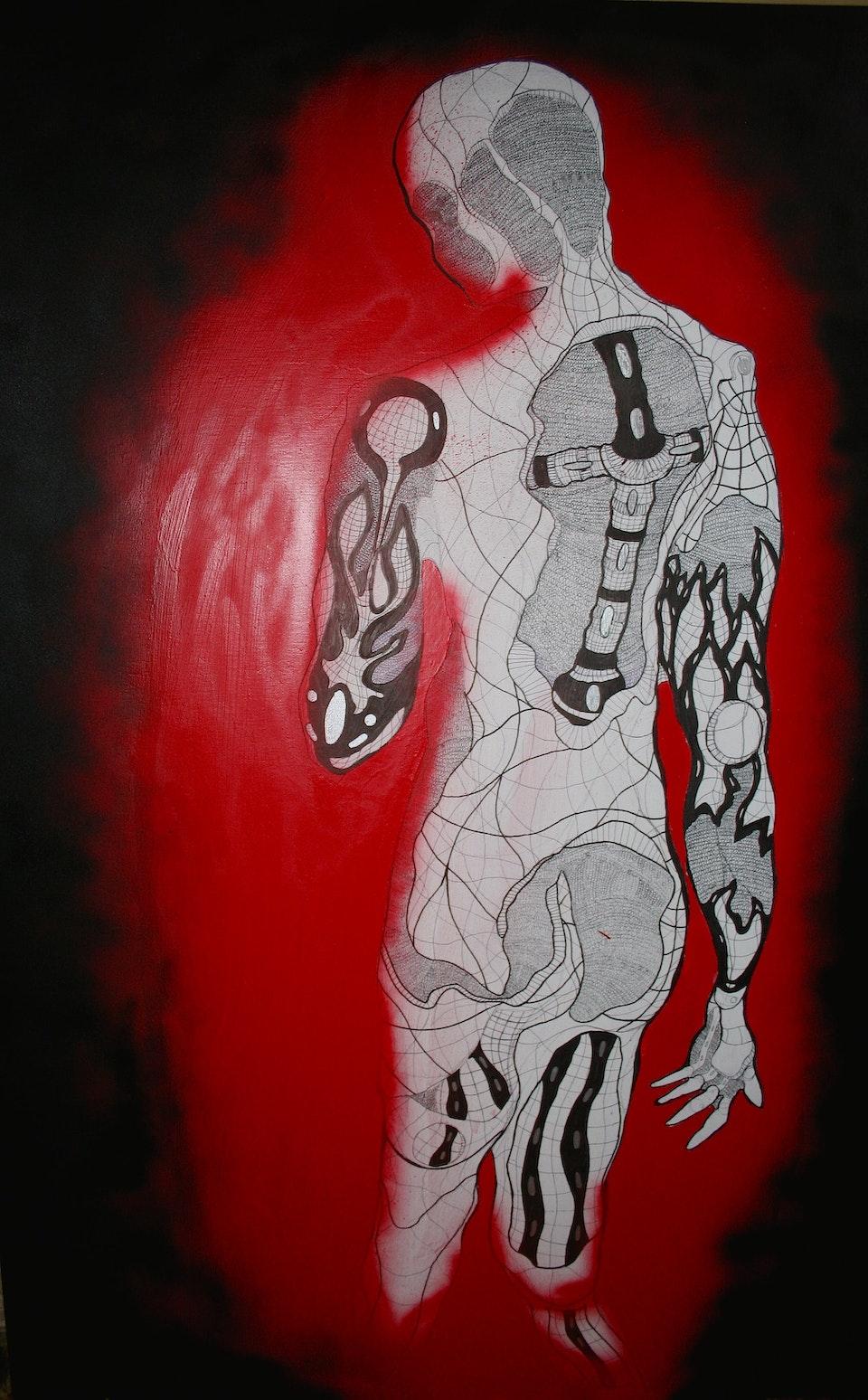 Omina mutanur nos et, mutamur in illis( 90cm x 132cm) Pen and Ink, Graphite, Spray Paint -