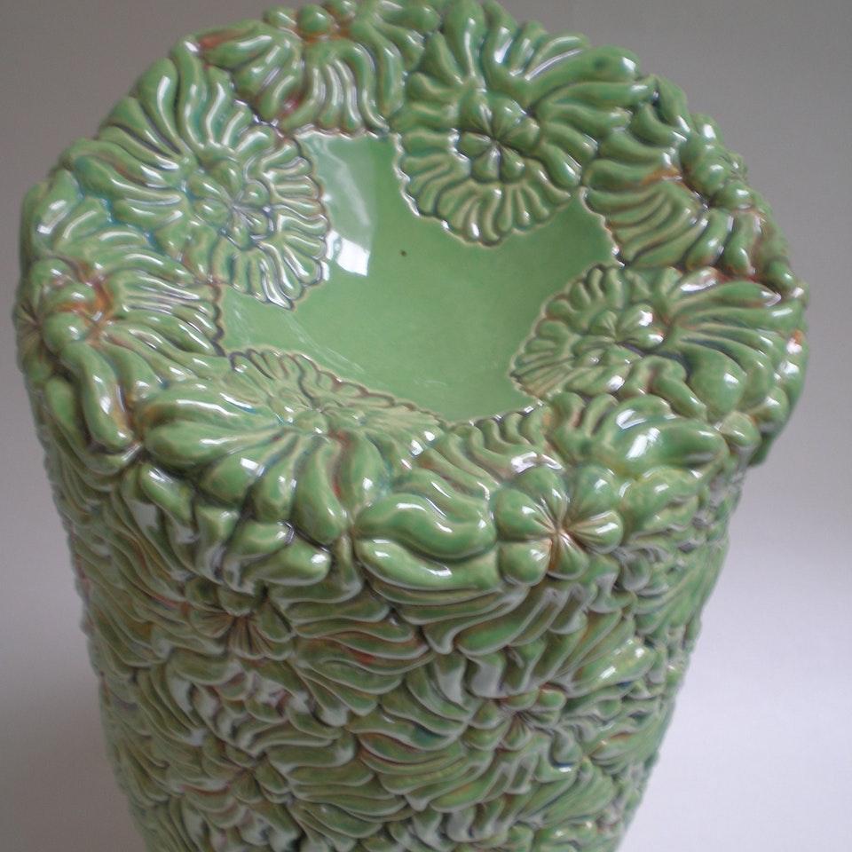Keramiek Van Campen - Andrea Boerman - bloemen groen, top view