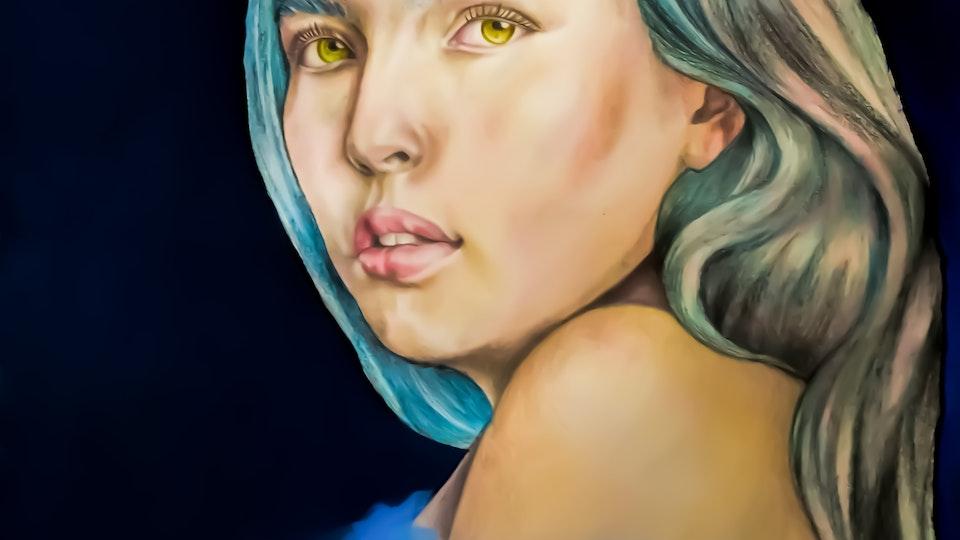 Artworks - Blue  Graphite, aquarelle, acrylic on paper; 2018