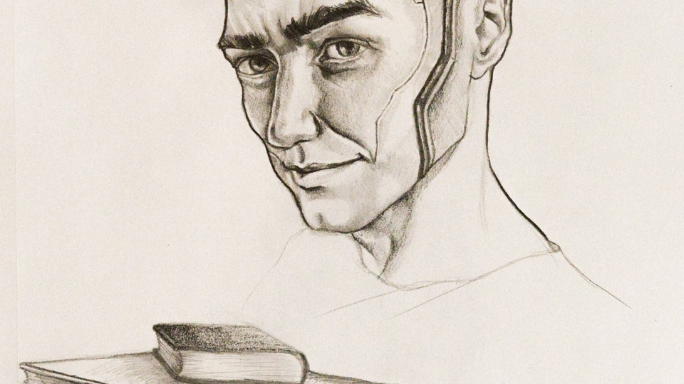 Graphics - Cyborg character design  Graphite on paper; 2017