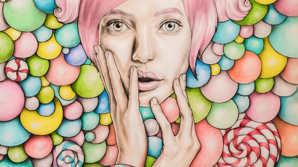 Artworks - Candy girl  Graphite, color pencil, aqarelle pencil on paper; 2018