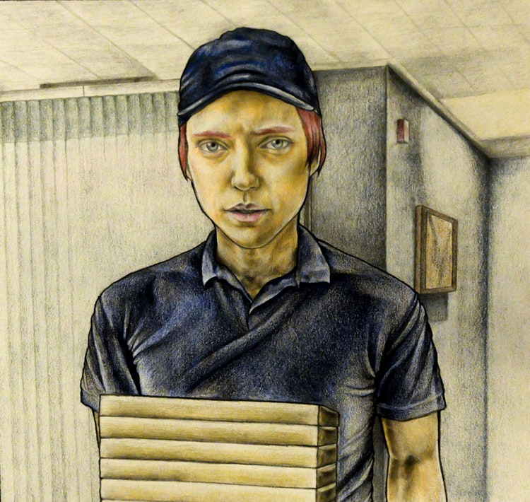 Graphics - Delivery boy illustration for comic story  Color pencil, graphite on paper; 2017