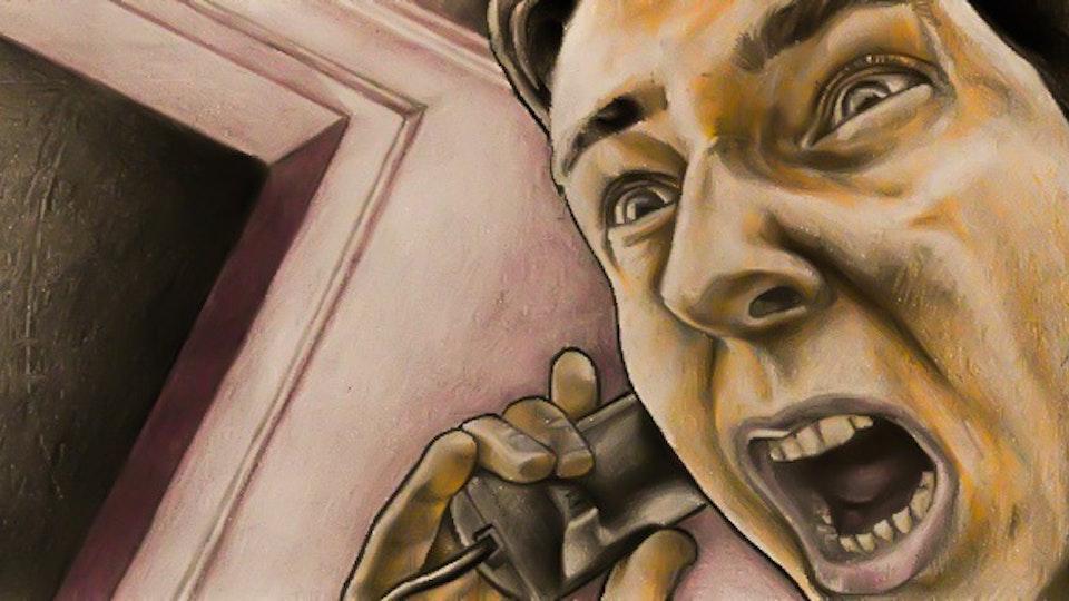 Graphics - Nervous man illustration for comic story  Color pencil on paper; 2017