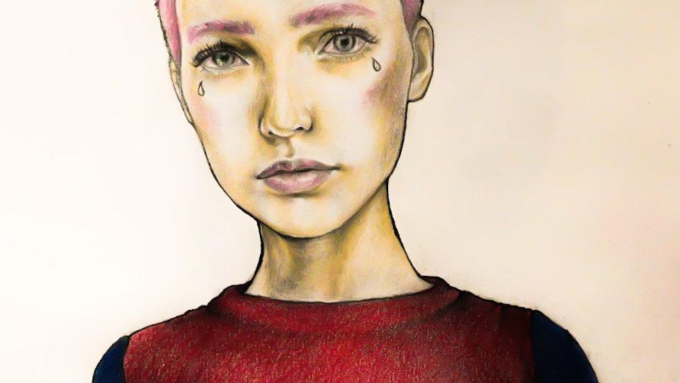 Graphics - Woman portrait Color pencil, graphite on paper; 2017