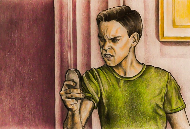 Graphics - Angry man illustration for comic story  Color pencil on paper; 2017