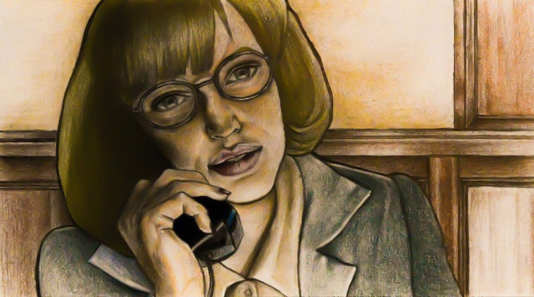 Graphics - Phone secretary illustration for comic story Color pencil on paper; 2017