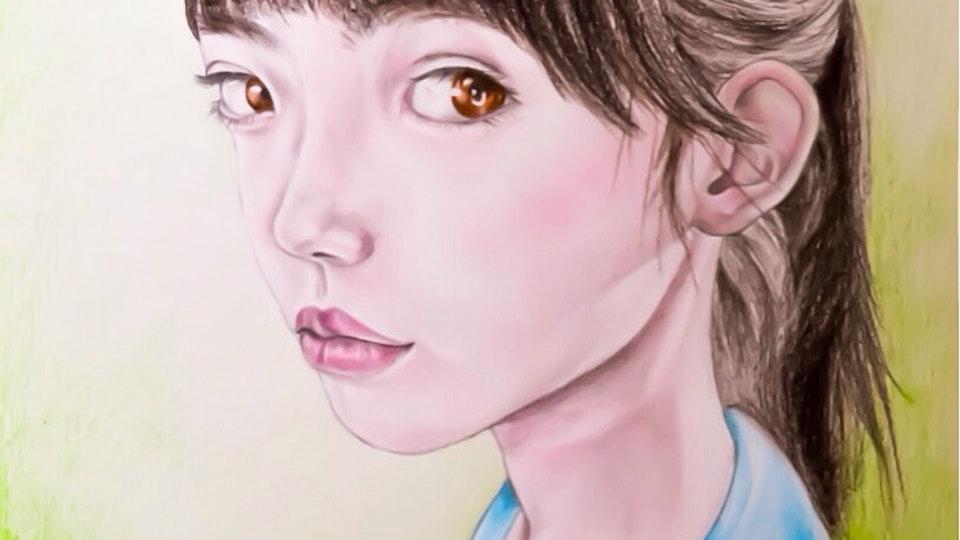 Artworks - Lotus child Graphite, pencil, oil pastel, aquarelle, acrylic on paper; 2018