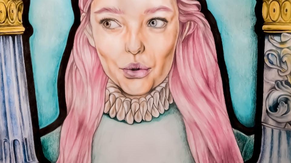 Artworks - Princess Aquarelle pencil, color pencil, graphite on paper; 2018