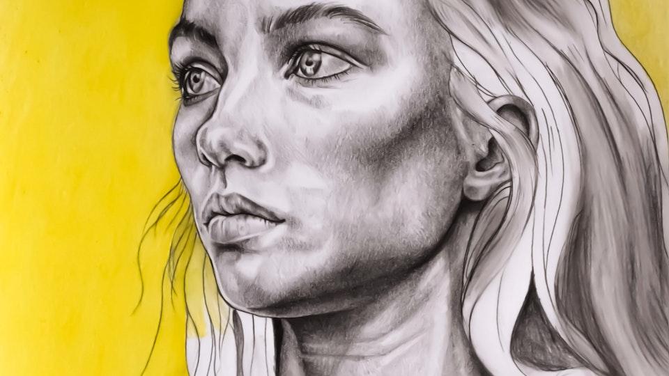 Graphics - Woman portrait Graphite, pencil, oil pastel on paper; 2020