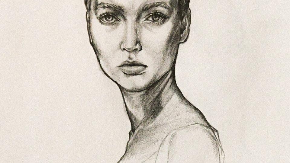 Graphics - Woman portrait Graphite on paper; 2017
