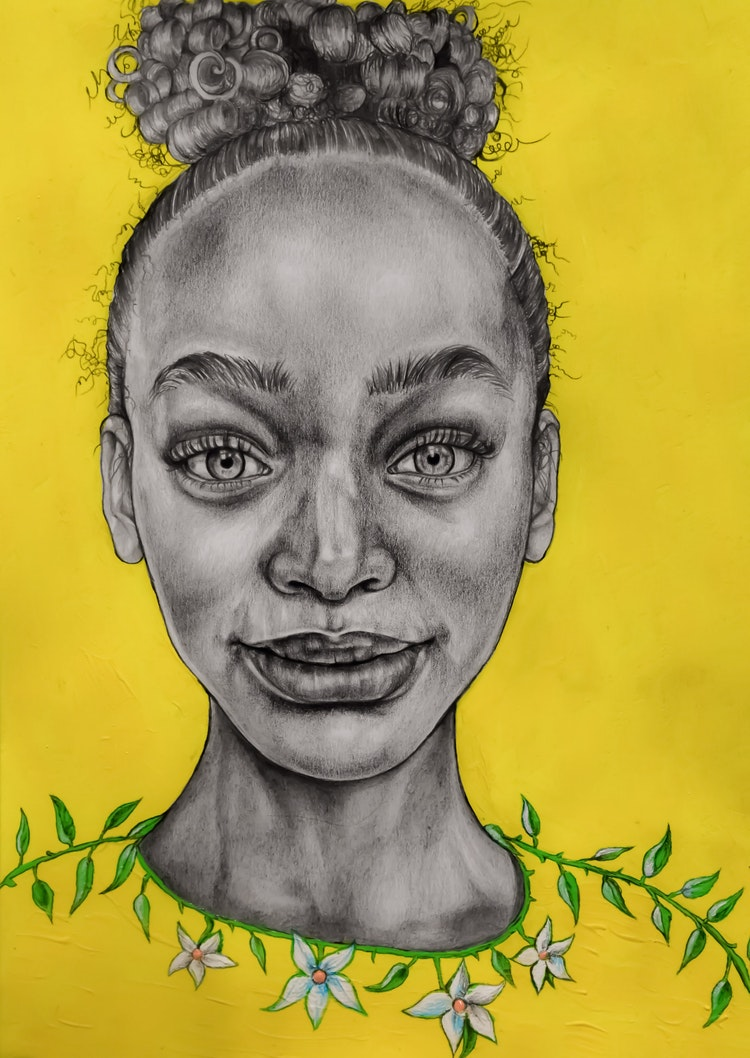 Graphics - Beautiful Nia graphite and acrylic on paper, 2021