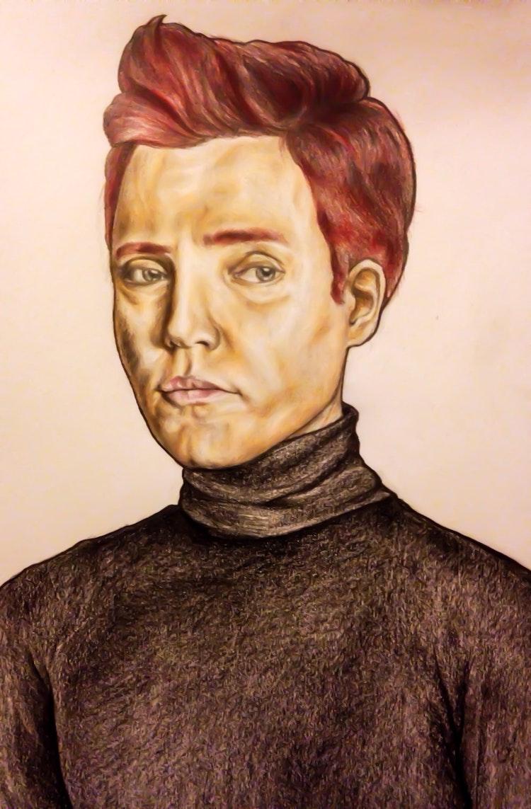 Graphics - Man portrait Color pencil, graphite on paper; 2017