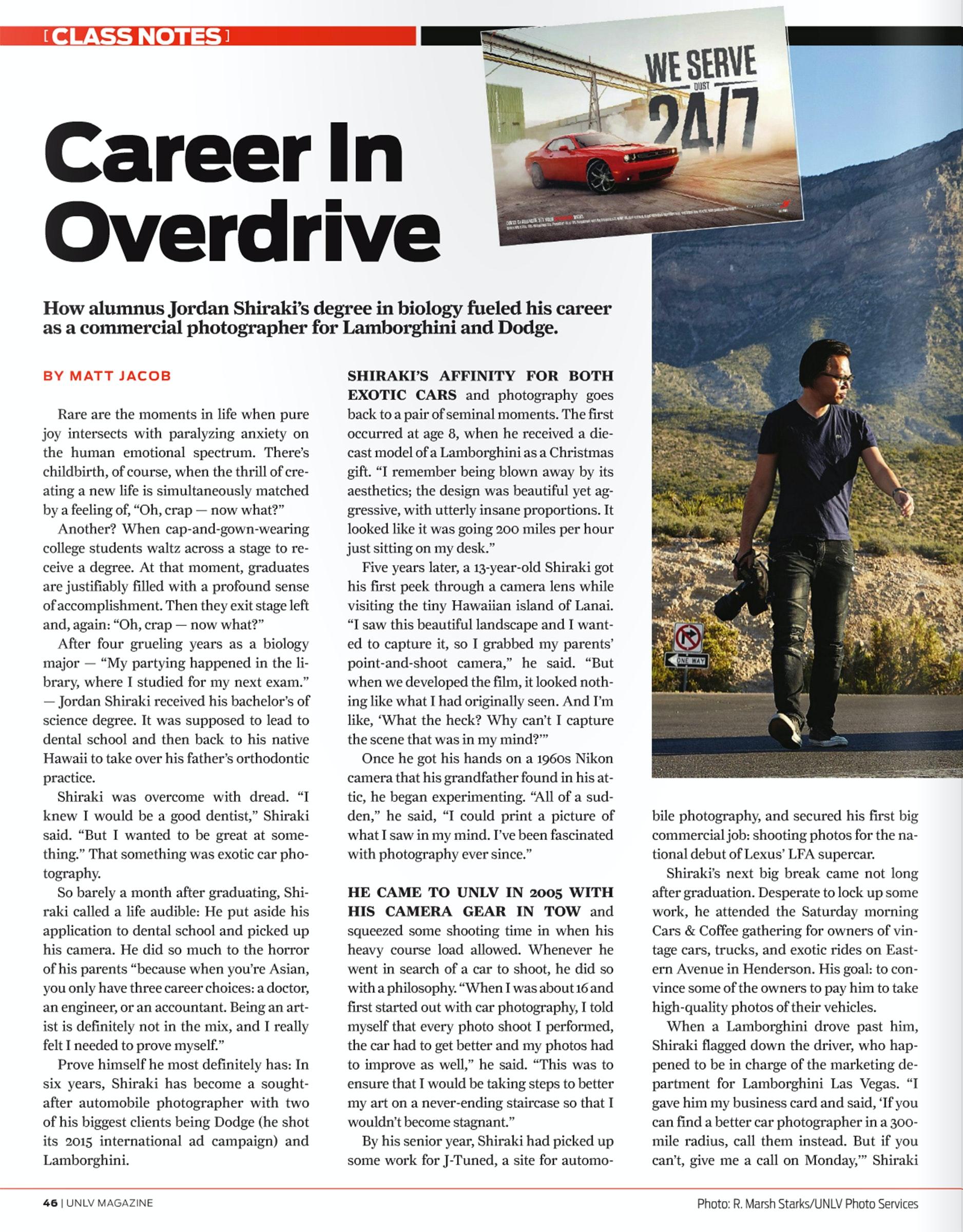 SHIRAKIPHOTO & DESIGN LLC - 0002_0071_unlv mag career in cover drive pg 1