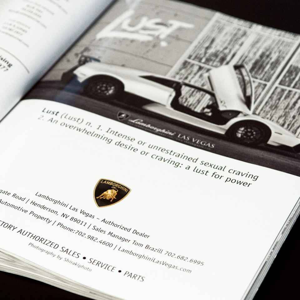 SHIRAKIPHOTO & DESIGN LLC - First Print Publication with Lamborghini!